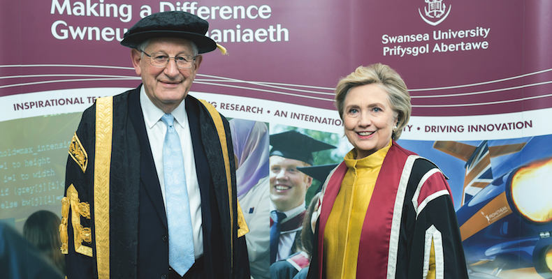 Prof Richard Davies presented Hillary Clinton with an honorary degree in October 2017. (credit: Swansea University)