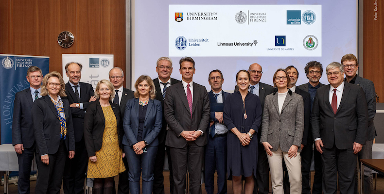Leaders of the Universities of Birmingham, Firenze, Köln, Leiden, Linnaeus, Nantes and Semmelweis at the launch of the European University of Well-Being (EUniWell)