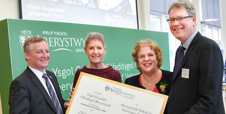 Left to right: Professor Stuart Reid, Principal of the Royal Veterinary College; Professor Christianne Glossop, Chief Veterinary Officer for Wales; Professor Elizabeth Treasure, Vice- Chancellor and Professor Tim Woods, Pro Vice-Chancellor at Aberystwyth University marking the launch of the Aberystwyth School of Veterinary Science